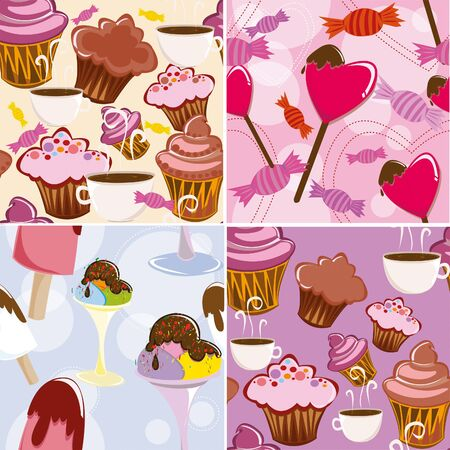 Set of tekstur with pastries, ice-cream and candies Vector