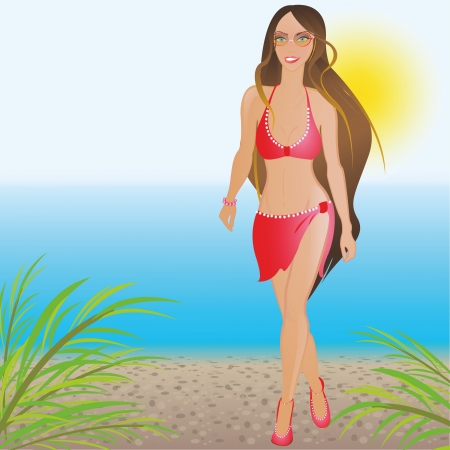 A girl in a red bathing suit on the beach