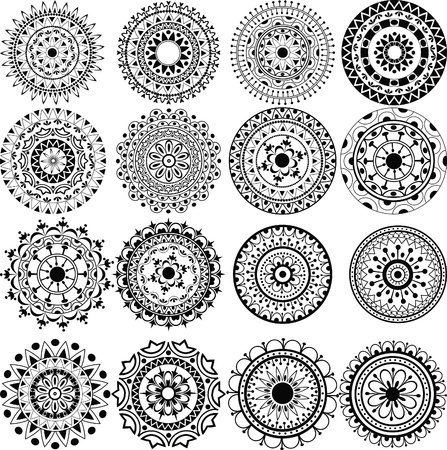 A set of beautiful mandalas and lace circles Ilustração