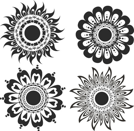 A set of flower tattoos Illustration