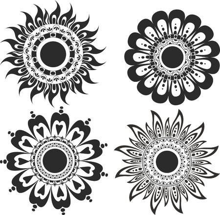 A set of flower tattoos Illustration