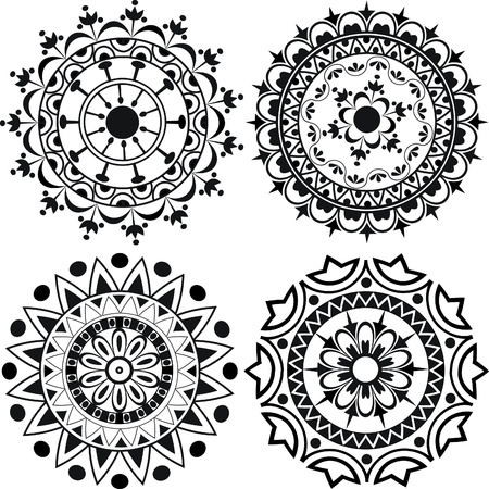 A set of mandalas and lace decorations Ilustração