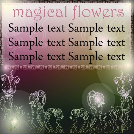 Background for text with hand-drawn flowers