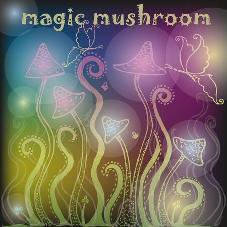 Background with magic mushrooms Illustration