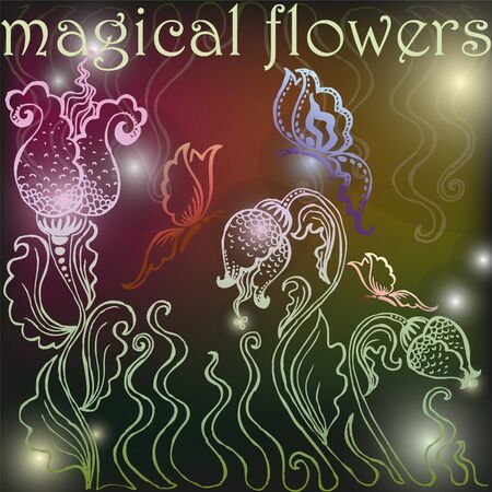 Background with magical flowers Illustration