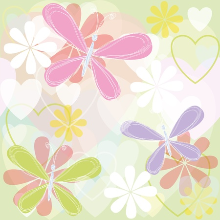 Bright summer texture with butterflies and hearts Stock Vector - 16423209