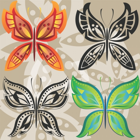 Butterflies in the style of Tribal Vector