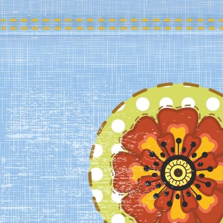 Denim background with flower Illustration