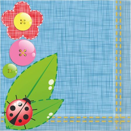 Denim background with flower and Ladybird