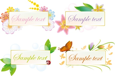 Banner with flowers and natural motifs Illustration