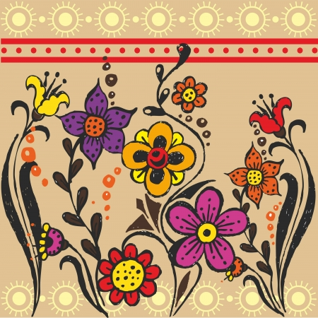 variegated: flowers are drawn from a hand with ethnic patterns
