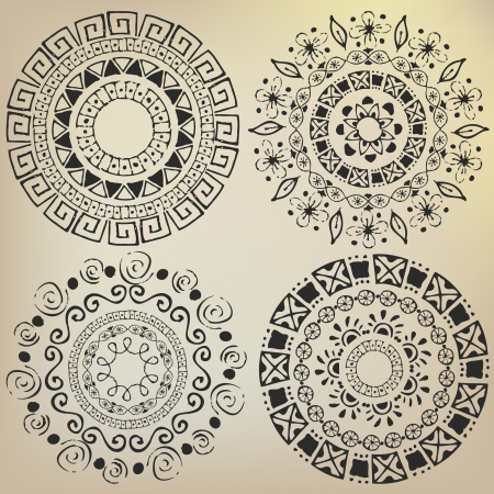 Ethnic mandalas drawn by hand Vector