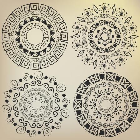 Ethnic mandalas drawn by hand Illustration