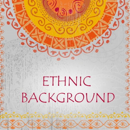 Ethnic pattern on a gray background Vector
