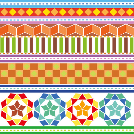 A set of colored geometric patterns