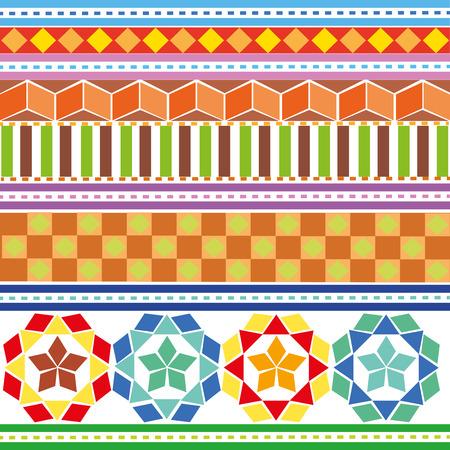 indium:  A set of colored geometric patterns