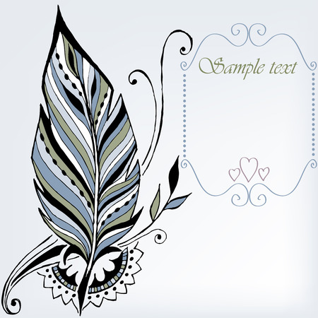 A beautiful feather with a frame for text Illustration