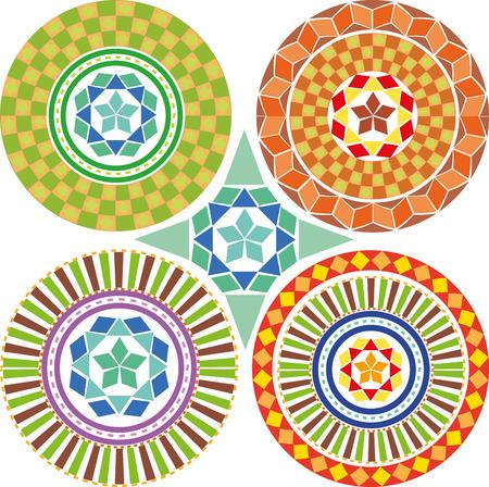A set of geometric patterns, mandalas