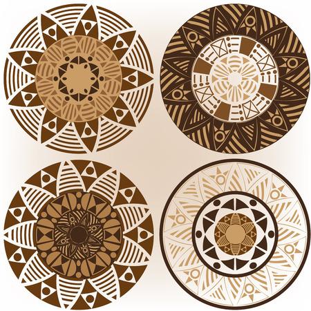 A set of mandalas in coffee colors