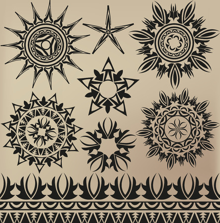 A set of patterns in a tattoo style