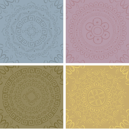A set of texture patterns and mandala Vector