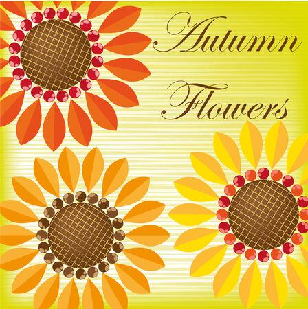 herbstblumen: Hintergrund mit Herbstblumen Illustration