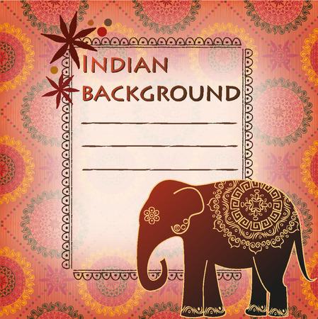 indian elephant: Fondo con la textura y el elefante indio Vectores