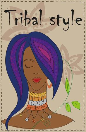 Beautiful girl in tribal style