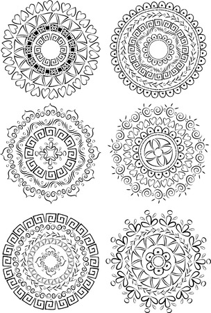 Beautiful ornaments in circle Vector