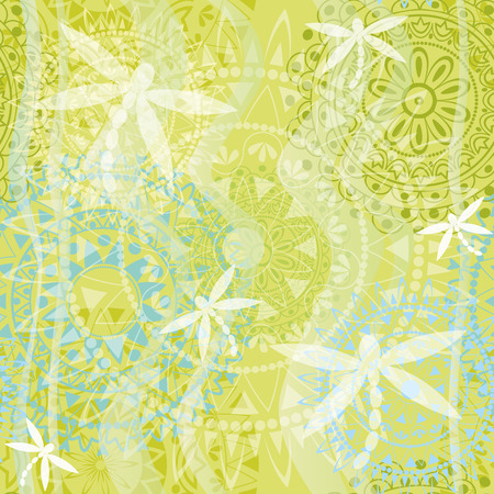 Beautiful texture with ornament and dragonfly Vector