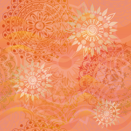 Beautiful texture with ornaments in warm colors Vector