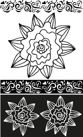 Contour of flowers and patterns