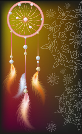 Dream catcher with feathers of fire