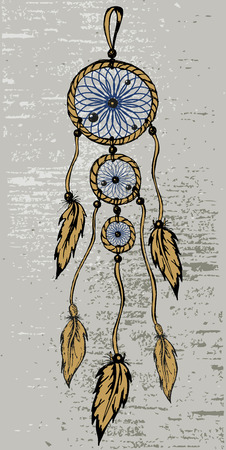 warmly: Dreamcatcher in grunge style Illustration