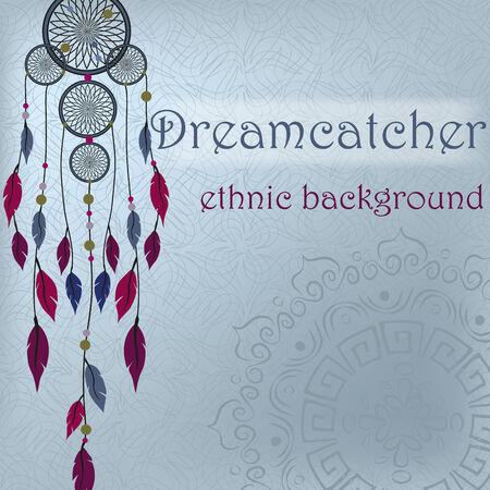 Dreamcatcher on ethnic with mandala