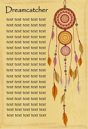 Ethnic background with dreamcatcher and text Vector