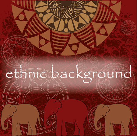 ethnic background in the African style with elephants
