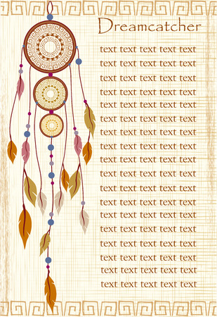 Ethnic background with dream catchers and Egyptian motifs