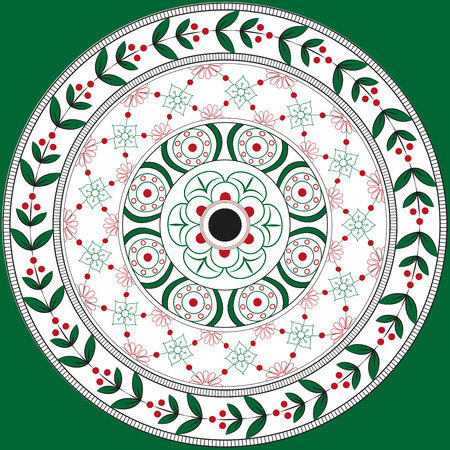 Floral ornament mandala in Slavic style