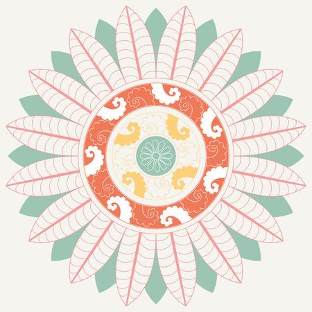 Tropical Mandala in pastel colors