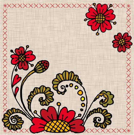 Ukrainian embroidery with flowers Illustration