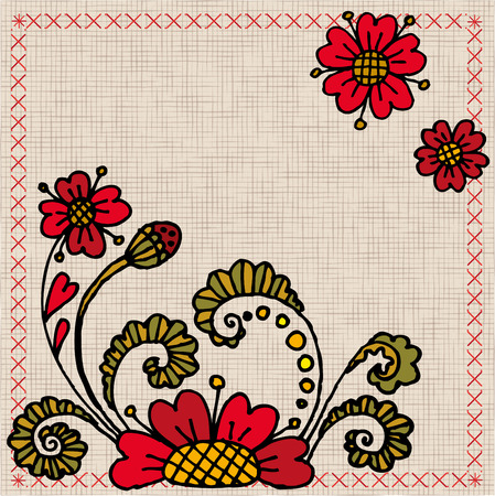 cotton plant:  Ukrainian embroidery with flowers Illustration