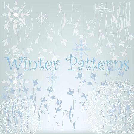 winter patterns, snowflakes and mandalas Illustration