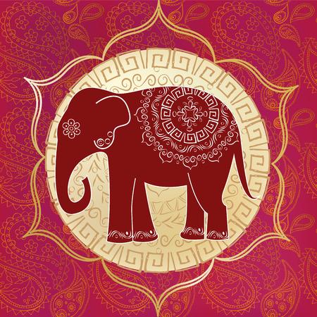 этнический: Индийский слон с мандал