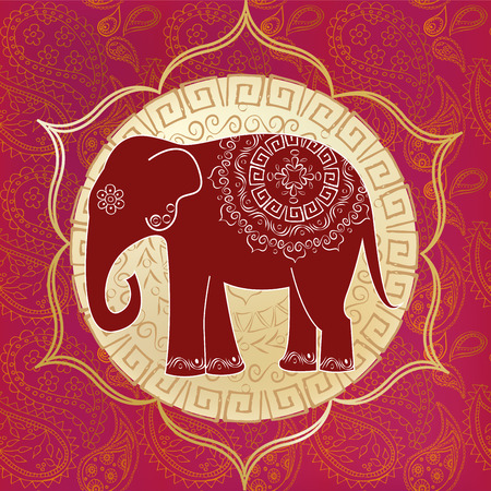 silhouettes elephants: Elefante indio con mandalas