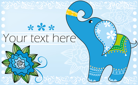 Background with blue Indian elephant Vector