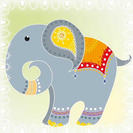 Cartoon Indian elephant Vector