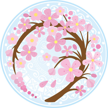 Curved sakura branch with pattern