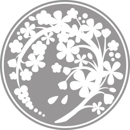 Curved silhouette Sakura Illustration