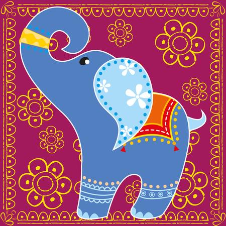 indian elephant: Elefante indio en colores brillantes